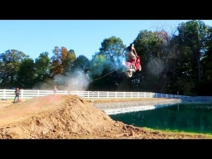 Street Bike Jump over the pond!