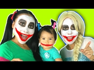 Frozen Elsa becomes Joker Elsa w/ Joker Girl