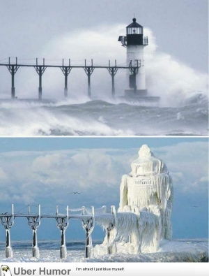 A Michigan lighthouse, before and after a winter storm.
